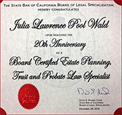 Board Certified Estate Planning, Trust, and Probate Law Certificate